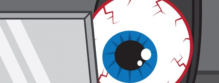 Eye Strain - Big Eye Ball at Computer Desk